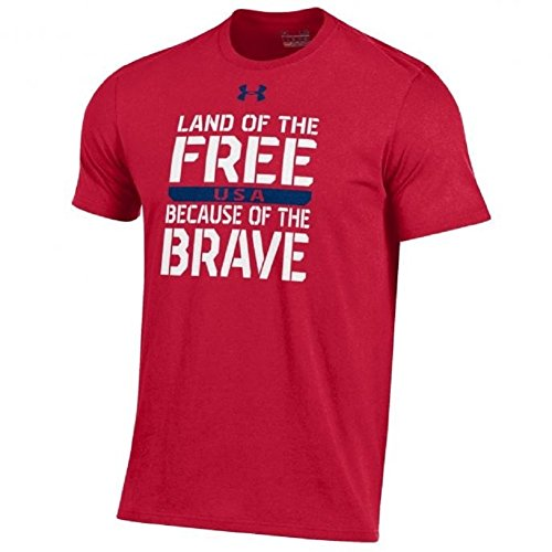 fe42d541 Under Armour Men's-United States Patriotic Charged Cotton T-Shirt  Collection-Land of the Free Because of The Brave-Red-XL